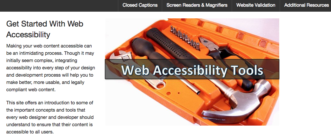 Web Accessibility Tools Website